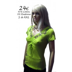 Tee-Shirt col et cotés motifs