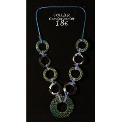 COLLIER TURQUOISE CERCLES PERLES