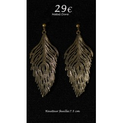 BOUCLES METAL DORE FEUILLE