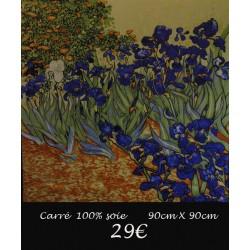 CARRE SOIE IRIS BLEUS