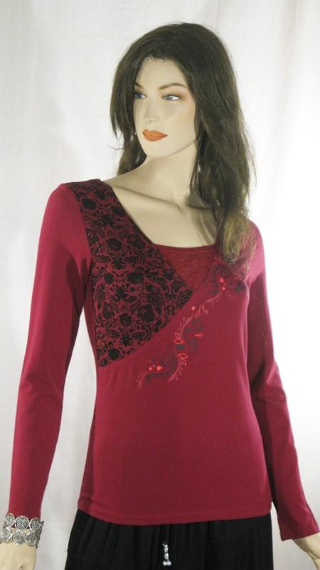 Tee-Shirt frise en biais framboise