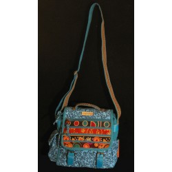 Sac turquoise rabat bandes cuir